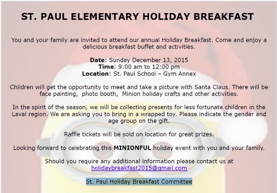 ST. PAUL ELEMENTARY HOLIDAY BREAKFAST | Laval Families Magazine | Laval's Family Life Magazine